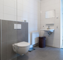 modern bathroom with concrete finishing