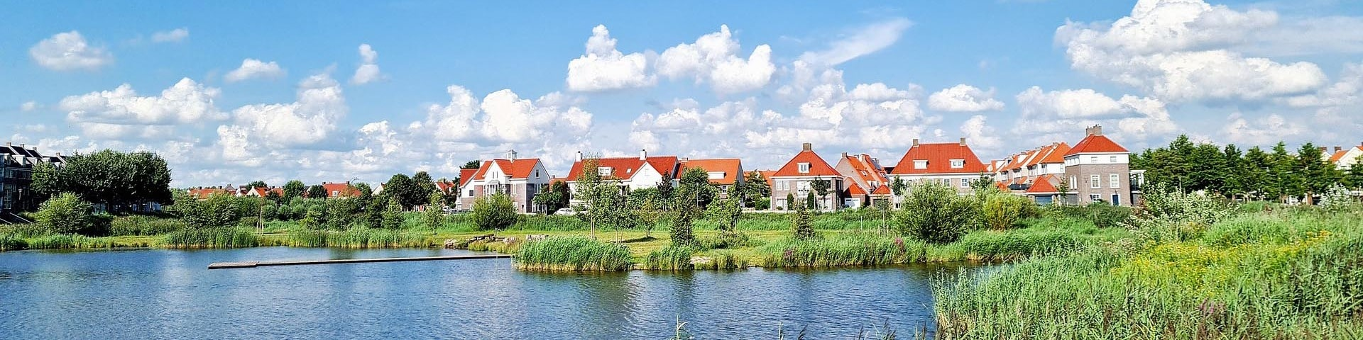 lake view with houses in Helmond