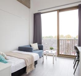 cozy studio apartment with furnishing