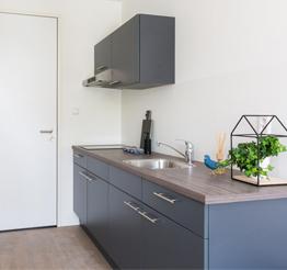 kitchen in studio apartment keramus