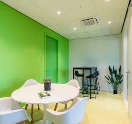 hallway with green wall