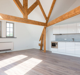 spacious studio apartment with wooden beams