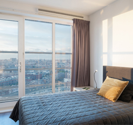 modern bedroom with views of The Hague
