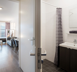 modern bathroom in studio apartment