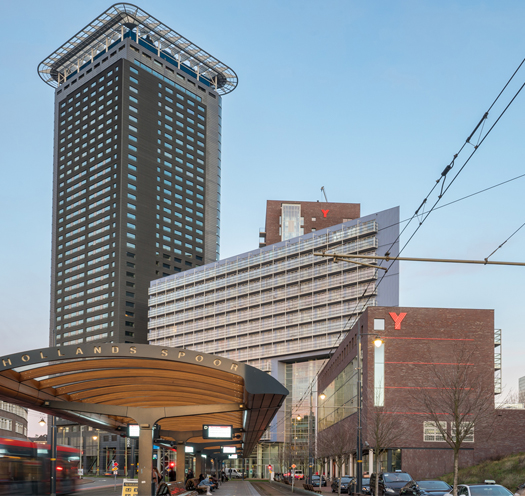 big residential building The Y in The Hague
