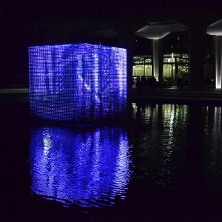 blue light art during Glow in Eindhoven