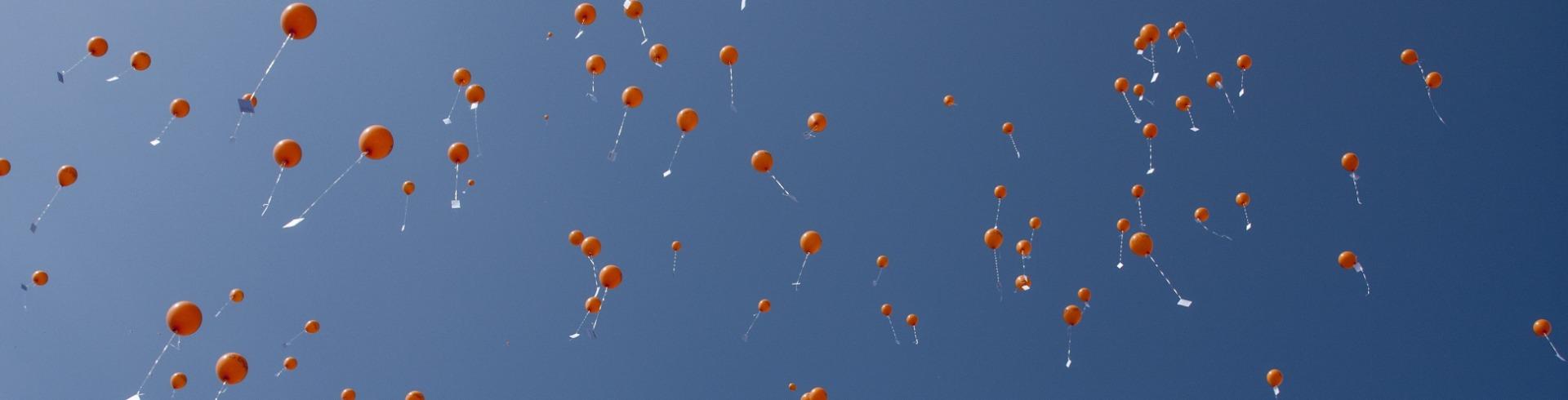 orange balloons released in the sky