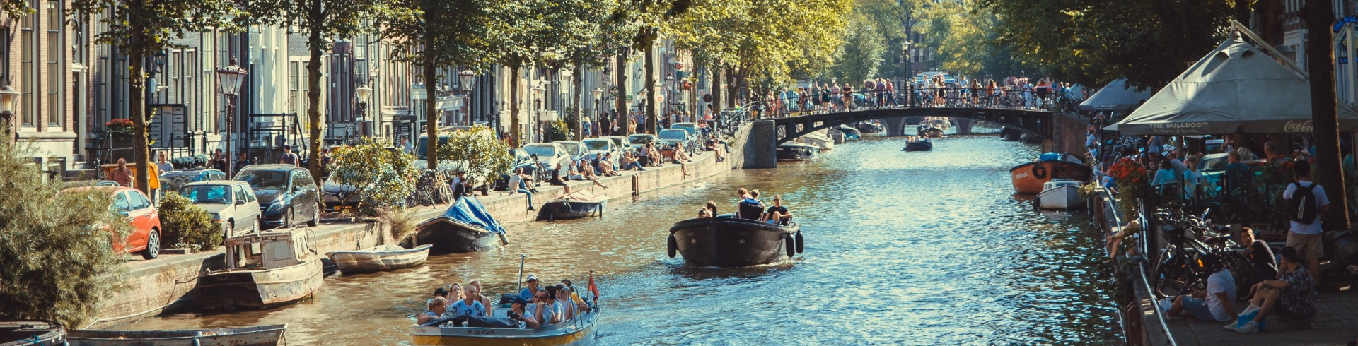 amsterdam canals with boats